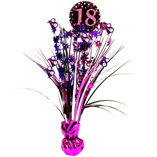 Sparkling Celebration Tischkaskade zum 18ten, pink, 46cm